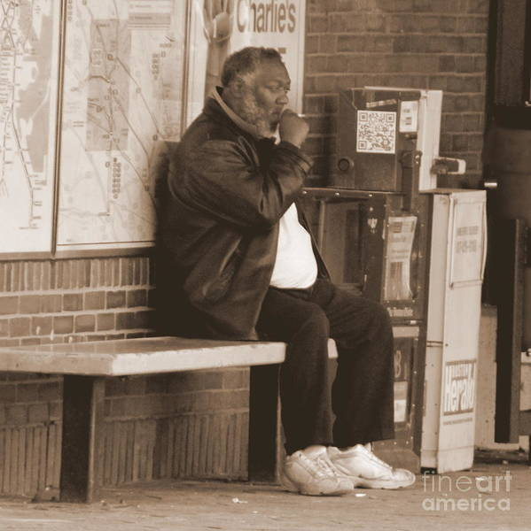 People Poster featuring the photograph Sitting At The Train Stop by Lennie Malvone