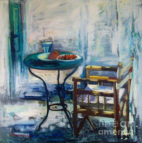 Table Paintings.chair Paintings.table And Chair Paintings.still Life Paintings . Poster featuring the painting Table And Chair by George Siaba