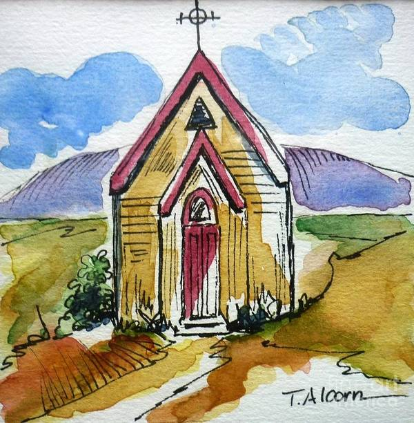 Church Poster featuring the painting The Gathering Place by Therese Alcorn