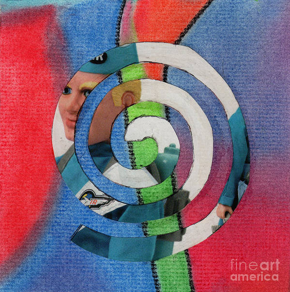 Collage Art Poster featuring the mixed media Toy Doll Spiral by Christine Perry