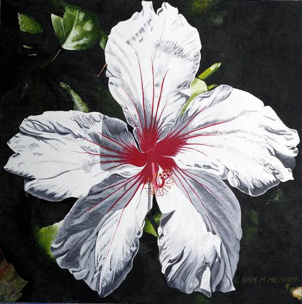 Hibiscus Poster featuring the painting White Hibiscus by Carol Messman Steele
