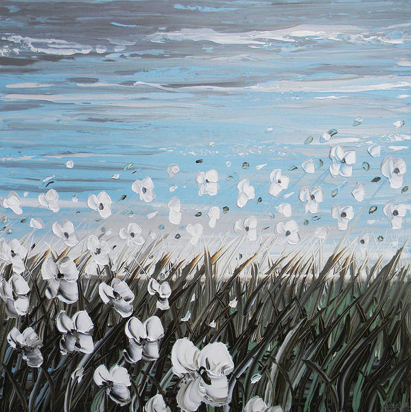 Poppy Poster featuring the painting White Wildflower Breeze by Christine Krainock