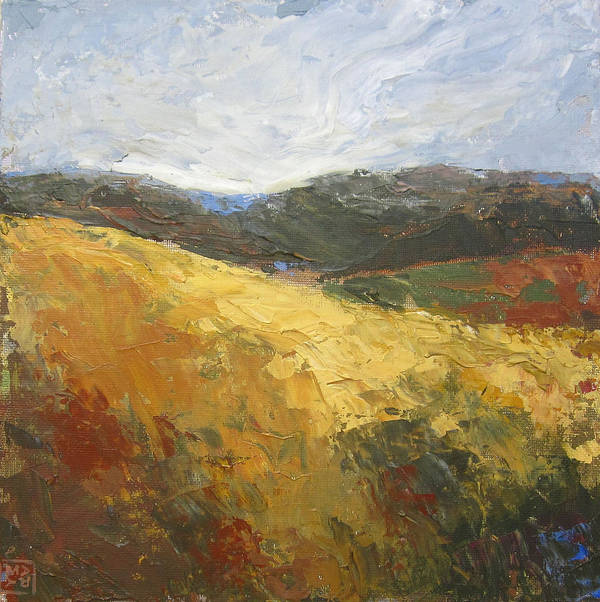 Landscape Poster featuring the painting Yellow Slope II by Mary Brooking