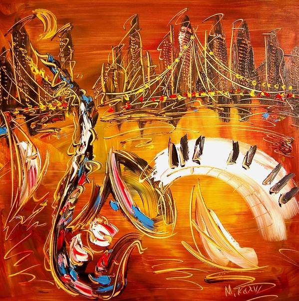 Landscape Framed Prints Poster featuring the painting Jazz City by Mark Kazav
