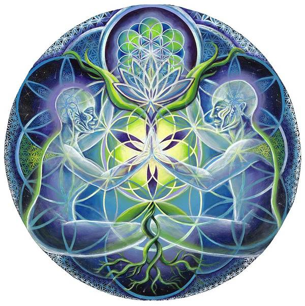Flower Poster featuring the painting The Flowering Of Divine Unification by Morgan Mandala Manley