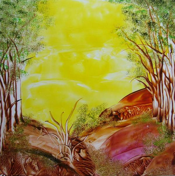 Encaustic Poster featuring the painting The Wood by Marketa Cejkova