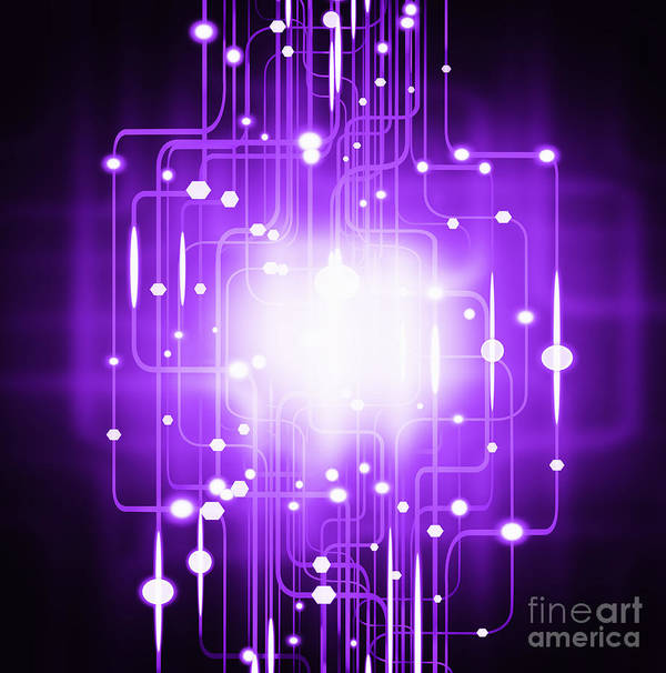 Abstract Poster featuring the photograph Abstract Circuit Board Lighting Effect by Setsiri Silapasuwanchai