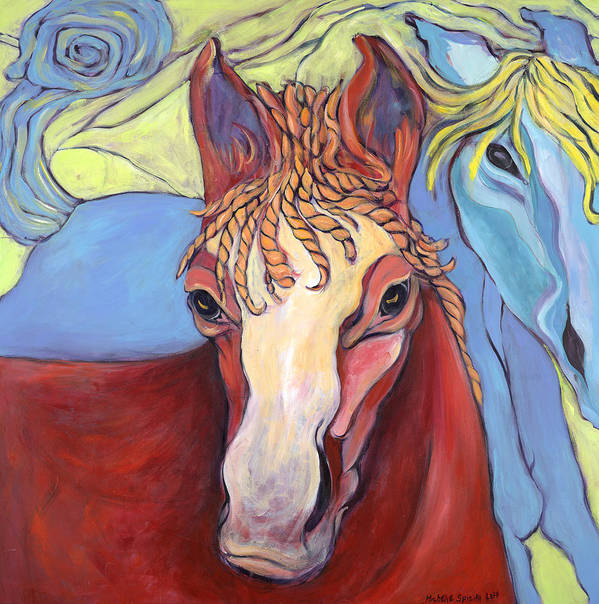 Horse Paintings Poster featuring the painting 2 Horses by Michelle Spiziri