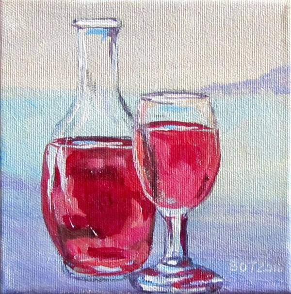 Wine Poster featuring the painting After 5 by Barbara O'Toole