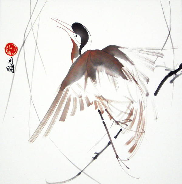 Chinese Painting Poster featuring the painting After A Long Flight by Ming Yeung