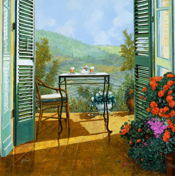 Terrace Poster featuring the painting Alle Dieci Del Mattino by Guido Borelli