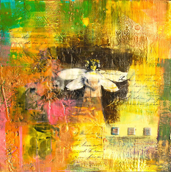 Abstract Poster featuring the painting Angel by Joya Paul