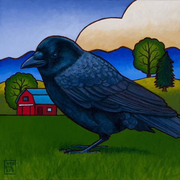 Crow Poster featuring the painting Anns Crow by Stacey Neumiller