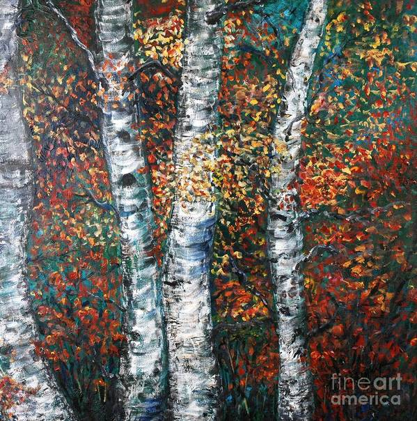 Birch Poster featuring the painting Autumn Birch by Nadine Rippelmeyer