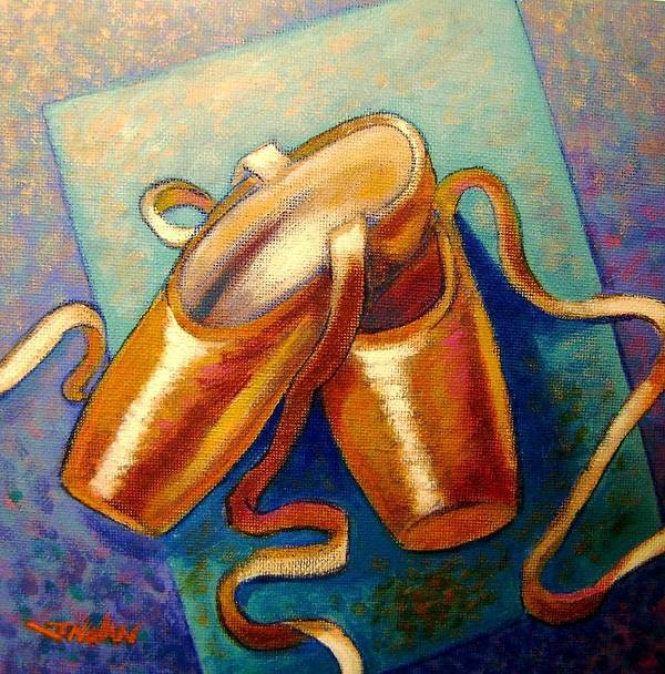 Ballet Shoes Leather Irish Cards Giclee Original Print Dance Dancers Satin Silk Ribbon Violet Blue Modern Colorful Impressionistic Tchaikovsky Classical Music Orchestra Canvas Acrylic Figurative Feet Slippers Boots Footwear Poster featuring the painting Ballet Shoes by John Nolan