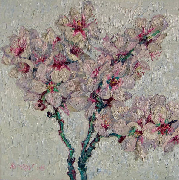 Blossoming Poster featuring the painting Blossoming Peaches Branch by Vitali Komarov