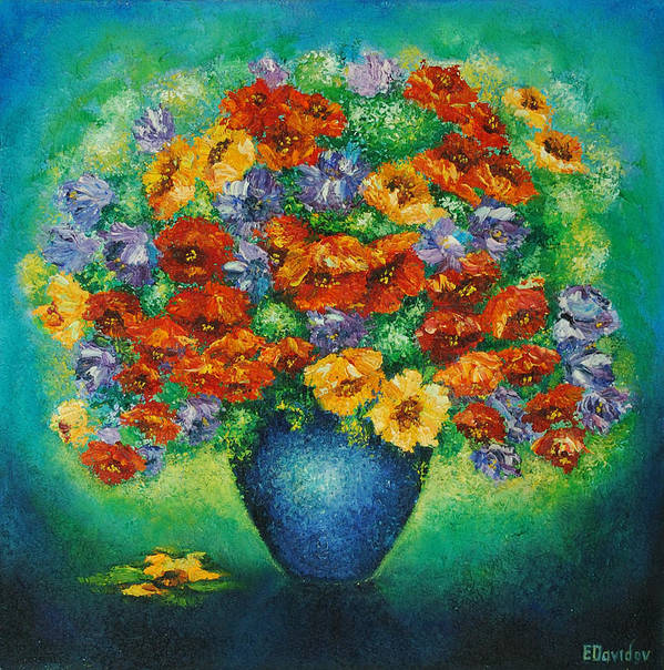 Flowers Poster featuring the painting Blue Vase. by Evgenia Davidov