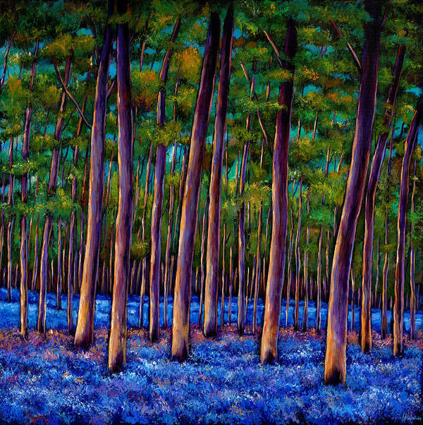 Landscape Poster featuring the painting Bluebell Wood by Johnathan Harris