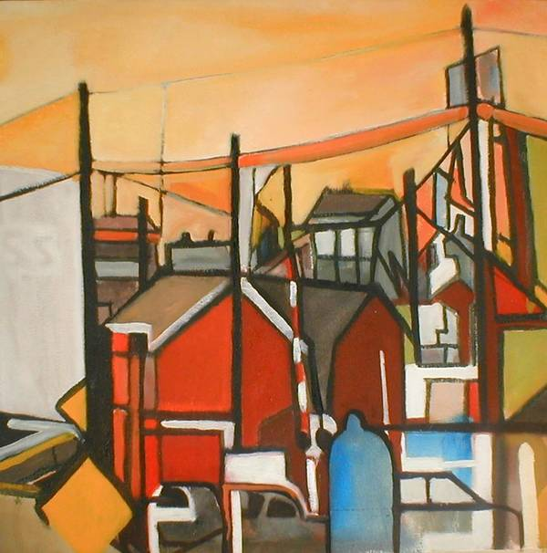 Suburban Poster featuring the painting Bogota Industrial by Ron Erickson