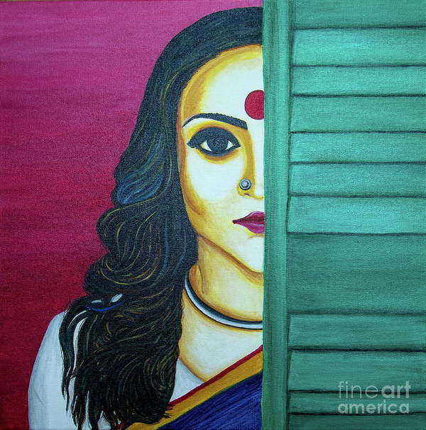 Portrait Of A Woman Poster featuring the painting Bold Yet Beautiful by Bhaswati Bhawal Gon