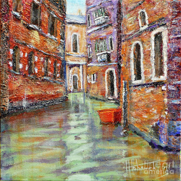Art Poster featuring the painting Canale Veneziano by Mohamed Hirji