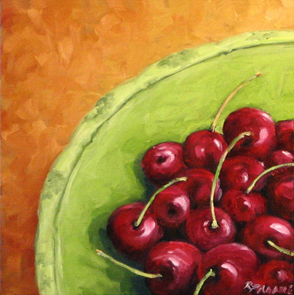 Art Poster featuring the painting Cherries Green Plate by Richard T Pranke