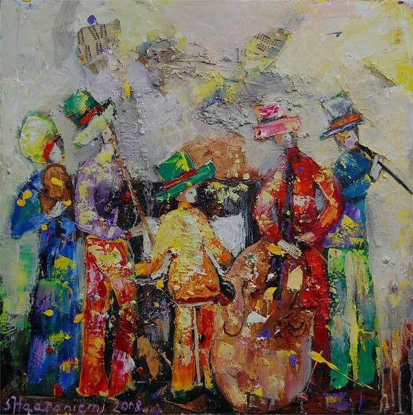 Poster featuring the painting Colorful Music by Sari Haapaniemi