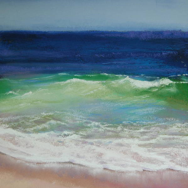 Wave Poster featuring the pastel Come On In by Jeanne Rosier Smith