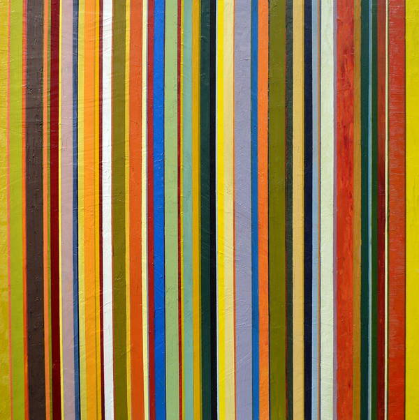 Textured Poster featuring the painting Comfortable Stripes by Michelle Calkins