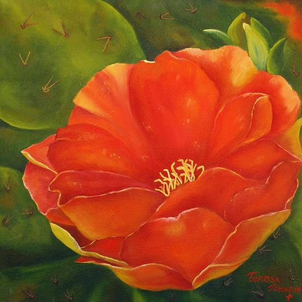Cactus Poster featuring the painting Cruces Bloom by Teresa Lynn Johnson
