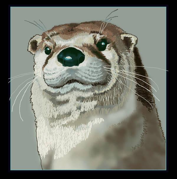 Nature Poster featuring the digital art Curious Otter by Jey Manokaran
