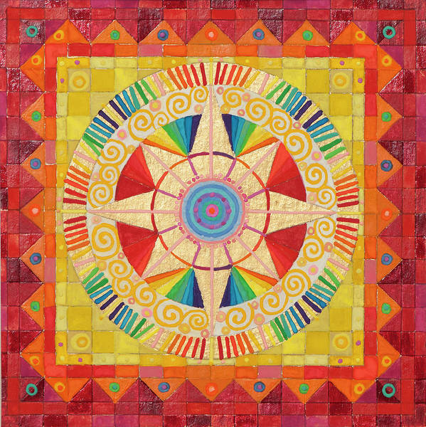 Mandala In Rainbow Colors. Poster featuring the painting Day by Sandy Thurlow