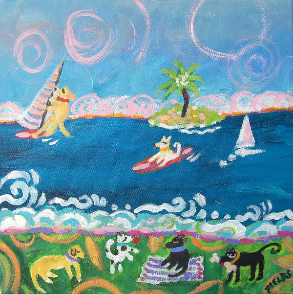 Dogs Poster featuring the painting Dog Day At The Beach by Karen Fields
