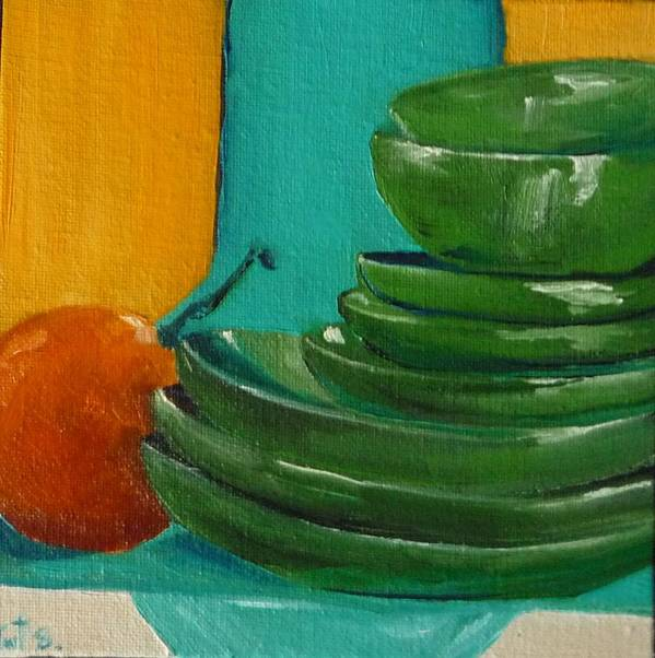 Kitchen Poster featuring the painting Earthenware by Irit Bourla