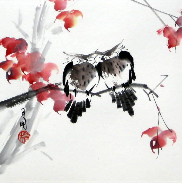 Chinese Painting Poster featuring the painting Envoy Of Fall by Ming Yeung