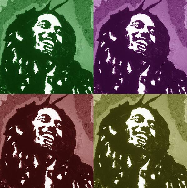 Bob Marley Poster featuring the drawing Everything Is Going To Be Alright by Robert Margetts