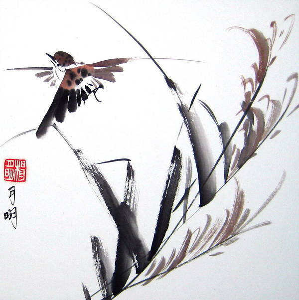 Bird Poster featuring the painting Finding The Way Home by Ming Yeung