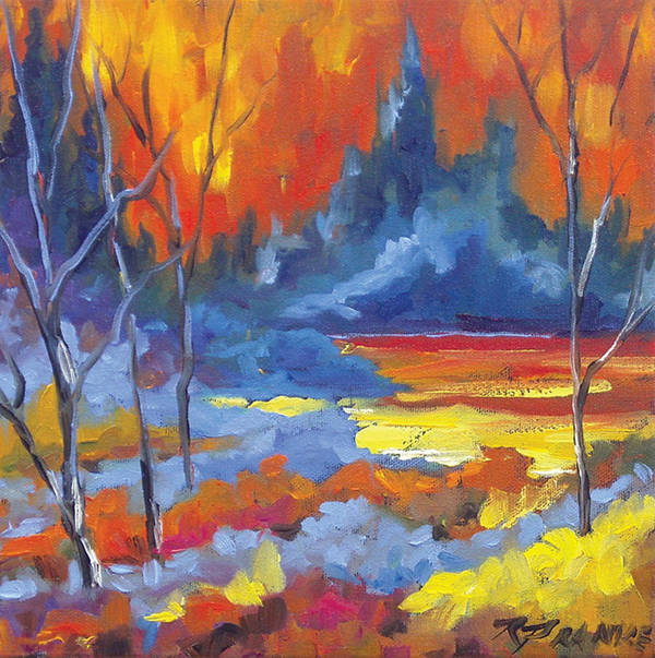 Art Poster featuring the painting Fire Lake by Richard T Pranke