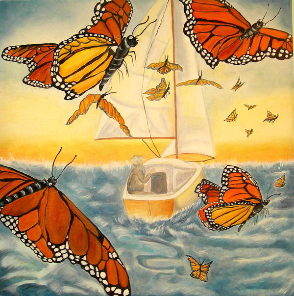 Monarchs Poster featuring the painting Flight Of The Monarchs by Kathern Welsh