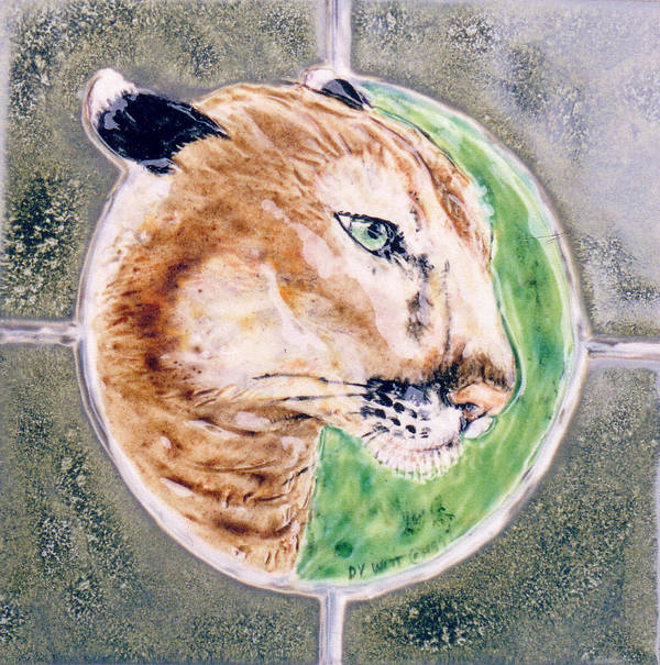 Relief Tile Poster featuring the sculpture Florida Panther by Dy Witt