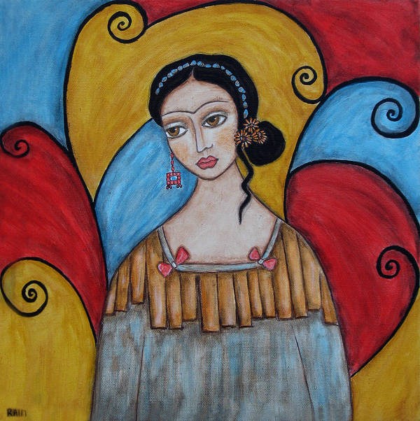 Frida Kahlo Paintings Poster featuring the painting Frida Kahlo by Rain Ririn