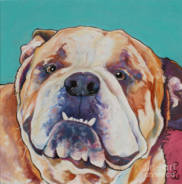 Pat Saunders-white Pet Portraits Poster featuring the painting Game Face  by Pat Saunders-White