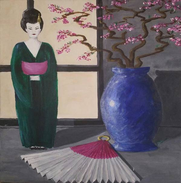 Poster featuring the painting Geisha Doll by Jan Marie
