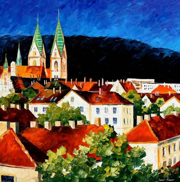 City Poster featuring the painting Germany - Freiburg by Leonid Afremov