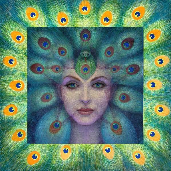 Peacock Lady Poster featuring the painting Goddess Isis Visions by Sue Halstenberg
