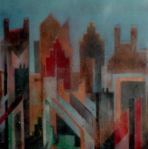 Abstract Poster featuring the painting Gothem City by Anita Burgermeister