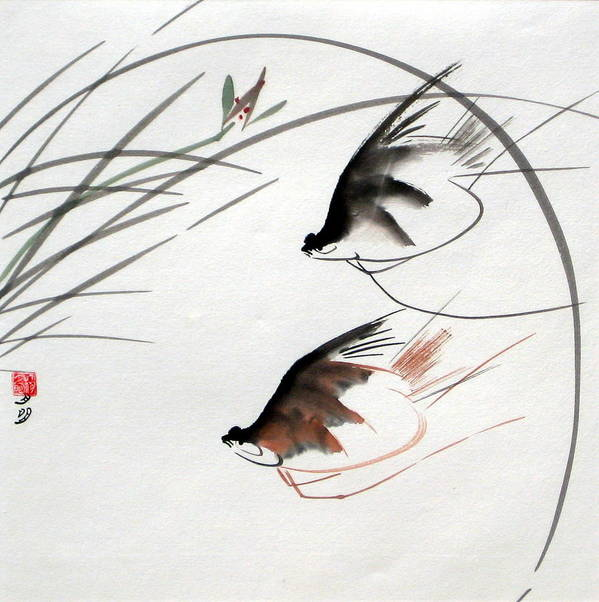 Chinese Painting Poster featuring the painting Graceful Swimmer by Ming Yeung