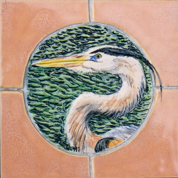 Ceramic Art Tile Poster featuring the painting Great Blue Heron by Dy Witt