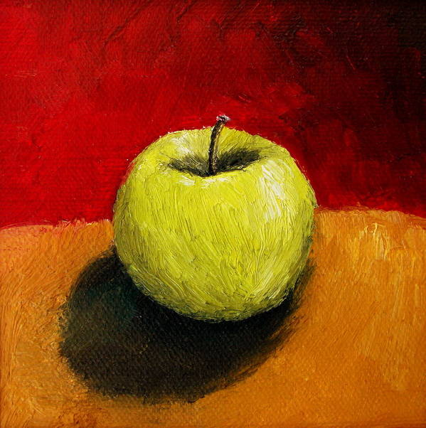 Apple Poster featuring the painting Green Apple With Red And Gold by Michelle Calkins
