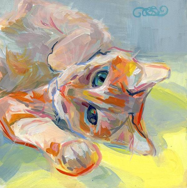 Tabby Cat Poster featuring the painting Hello Kitty by Kimberly Santini